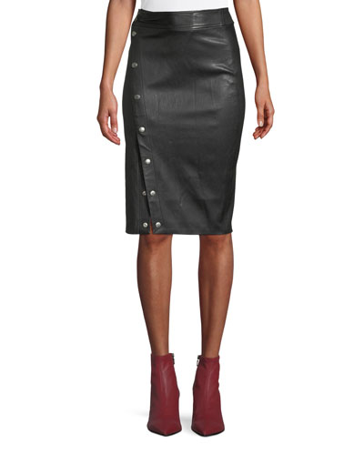 Baha Leather Snap-Up Pencil Skirt