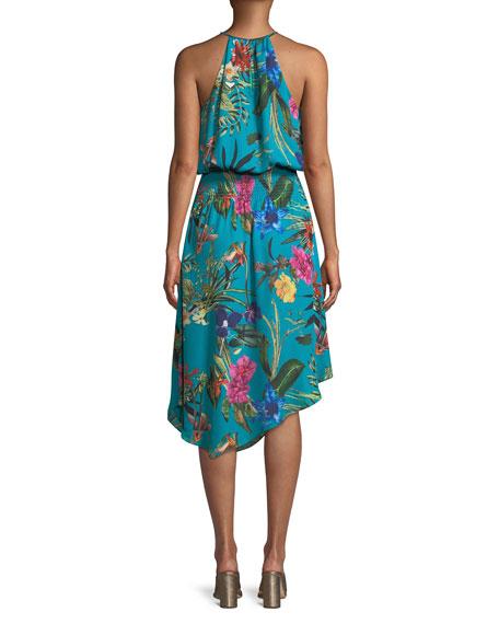 Harley Asymmetric Floral Silk Dress