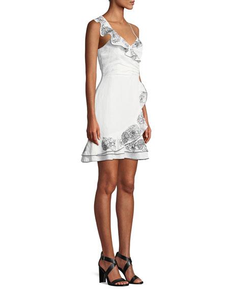 Jay Floral Linen Flounce Mini Dress