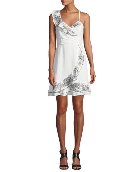 Parker Jay Floral Linen Flounce Mini Dress