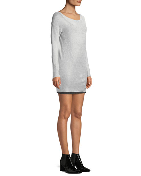 Flora Round-Neck Long-Sleeve Metallic-Knit Mini Sweaterdress