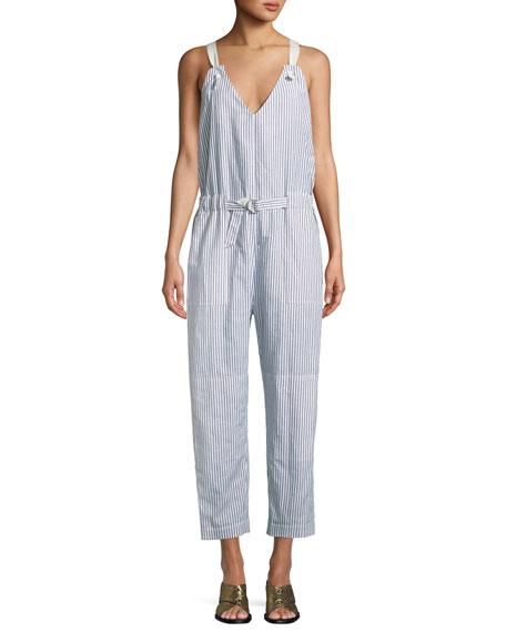 Ellen Cotton And Linen Jumpsuit, Blue