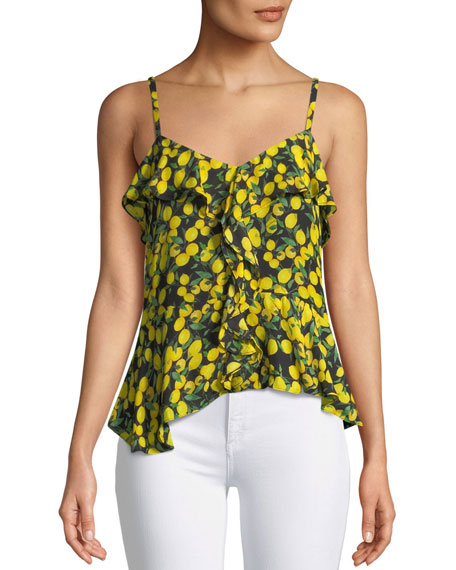 Parker Bonnie Lemons Sleeveless Ruffle Cami Top