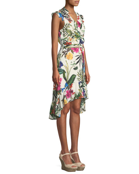 Margaret Floral High-Low Faux-Wrap Dress