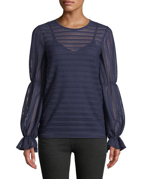 MICHAEL Michael Kors Cinched-Sleeve Crochet-Striped Top