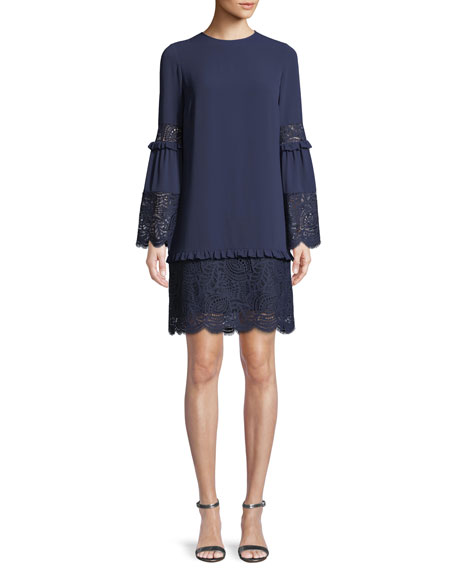 Bell-Sleeve Dress with Scalloped Lace