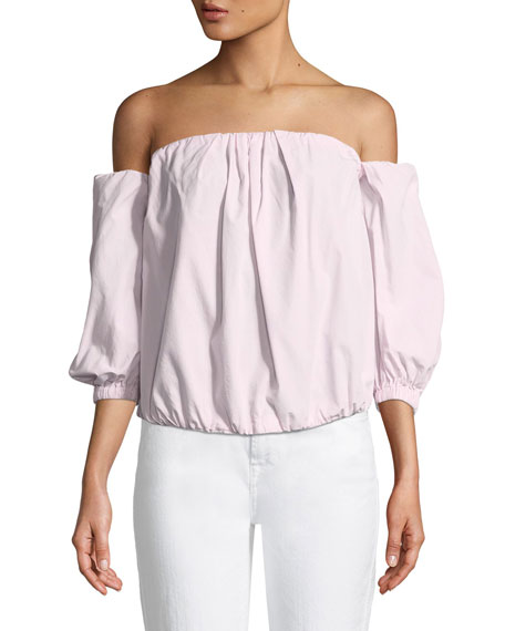 Off-the-Shoulder Puff-Sleeve Poplin Top