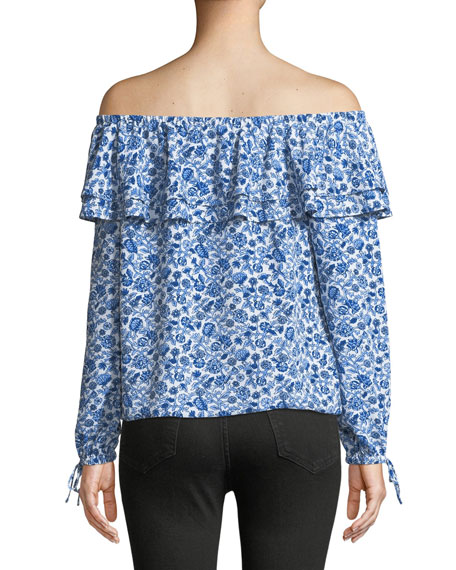 Woodblock Vine Off-the-Shoulder Ruffle Blouse