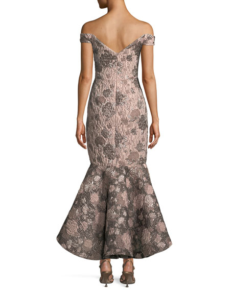 Soft Metallic Jacquard Mermaid Gown