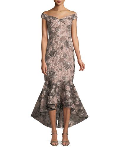 Soft Metallic Jacquard Mermaid Gown