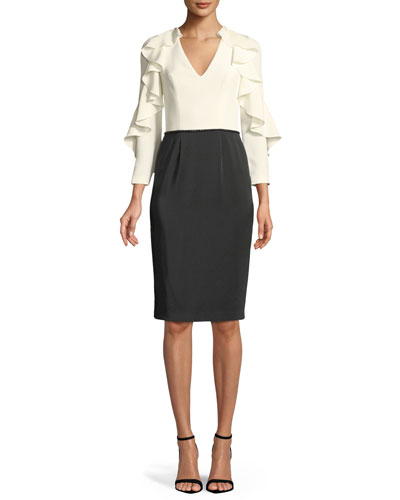 Tuxedo Ruffle-Sleeve Cocktail Dress