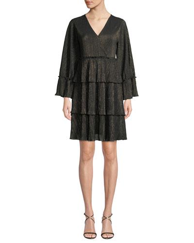 V-Neck Full-Sleeve Metallic-Striped Ruffle Tier Dress