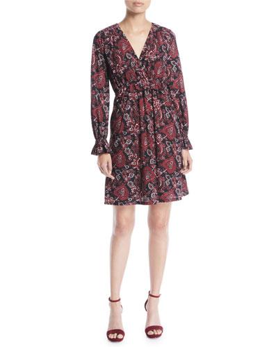 Short V-Neck Long-Sleeve Shirring Paisley-Print Dress
