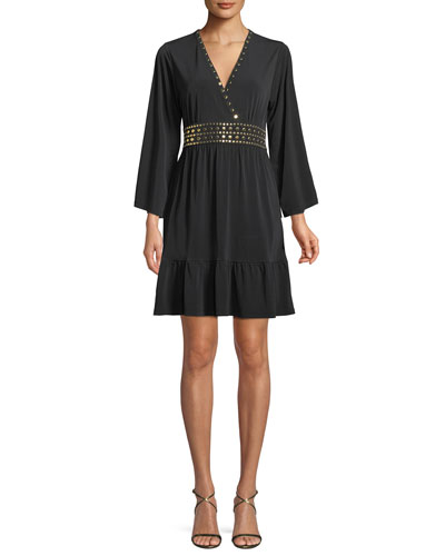 Studded V-Neck A-Line Dress
