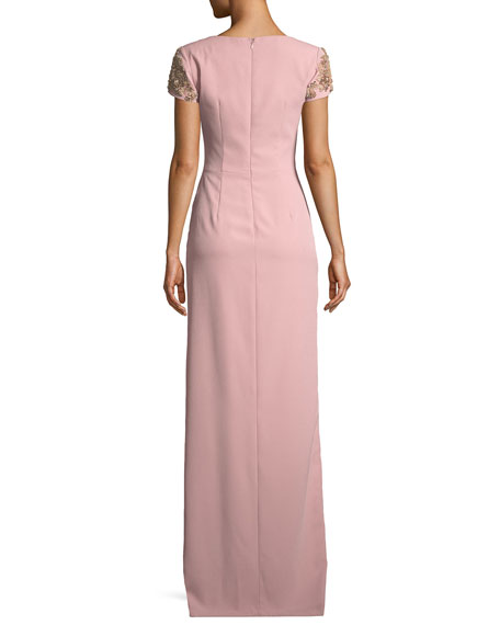 Crepe Column Gown w/ Beaded Sleeves