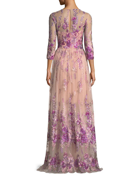 Floral Embroidered Gown w/ Beaded Waist