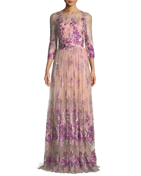 David Meister Floral Embroidered Gown w/ Beaded Waist