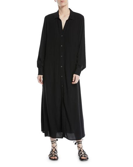 Long-Sleeve Button-Front Maxi Shirtdress