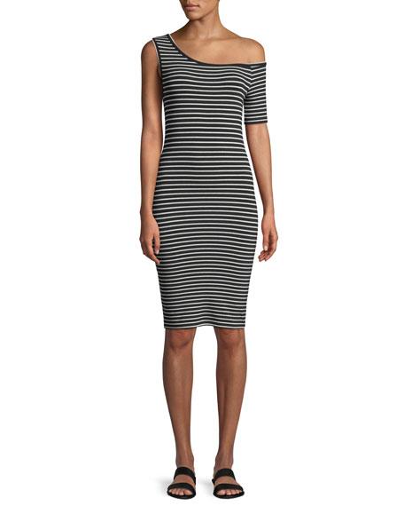 One-Shoulder Fitted Striped Knee-Length Dress, Black