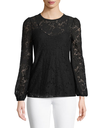 Long-Sleeve Lace Top