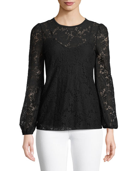 MICHAEL Michael Kors Long-Sleeve Lace Top
