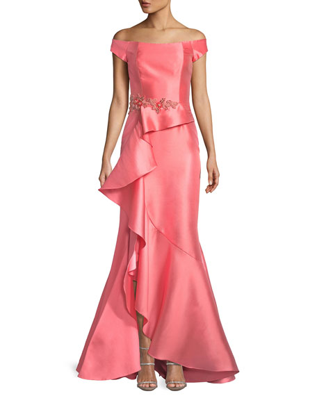DAVID MEISTER Off-The-Shoulder Ruffle Gazaar Gown in Coral