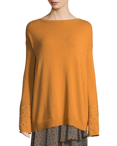 Studded-Cuff Drop-Shoulder Sweater