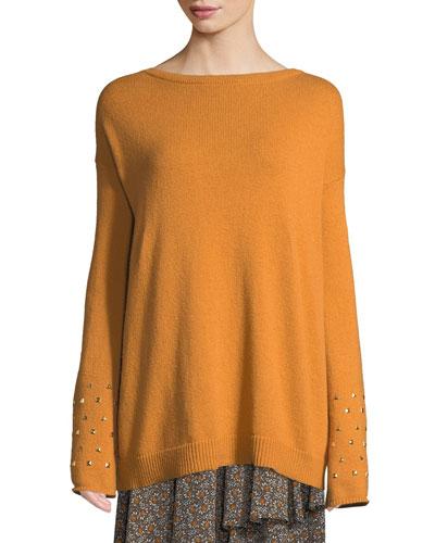 Studded-Cuff Drop-Shoulder Sweater