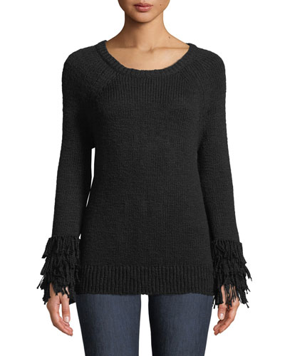 Fringe-Cuff Raglan Sweater