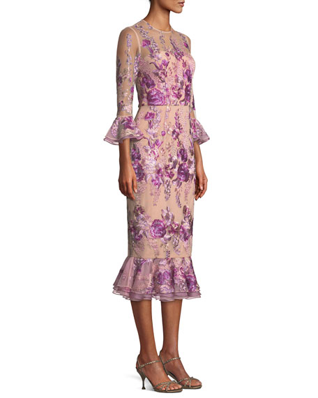 Floral Embroidered Trumpet-Sleeve Dress w/ Flounce Hem
