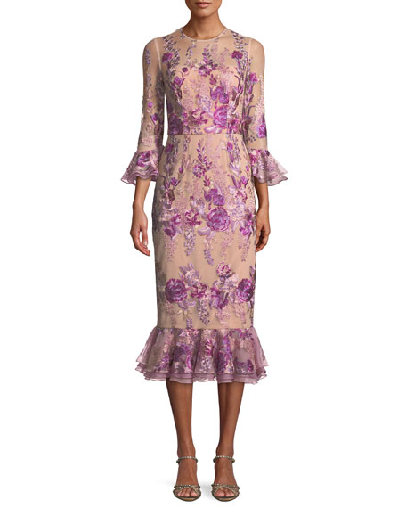 David Meister Floral Embroidered Trumpet-Sleeve Dress w/ Flounce