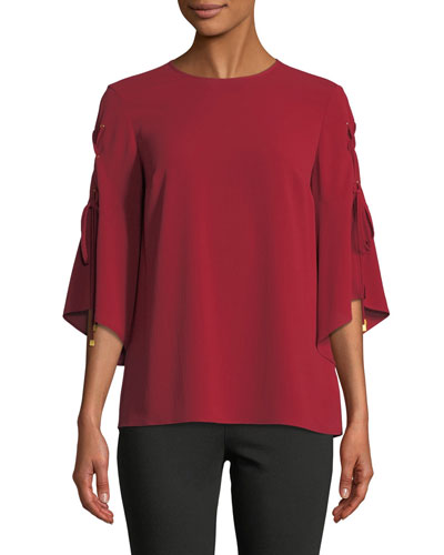 3/4-Sleeve Grommet Top