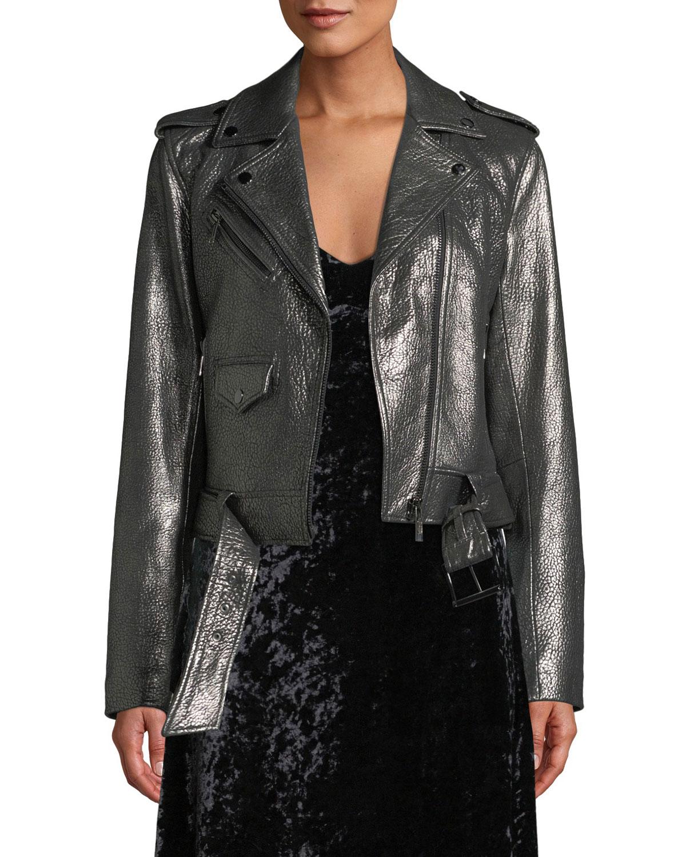 b16ce487b MICHAEL Michael Kors Metallic Leather Moto Jacket