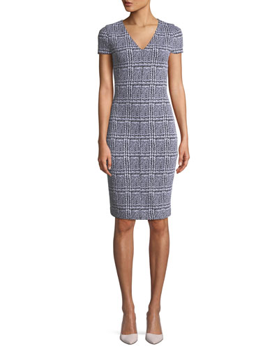 Plaid Jacquard Body-Con Dress