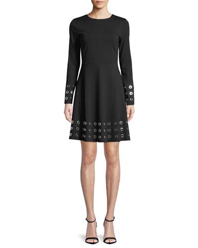 Grommet-Trim Flare Dress