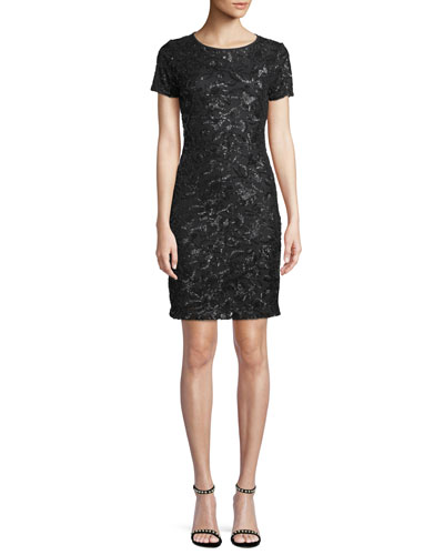 Short-Sleeve Crewneck Sequin Sheath Dress