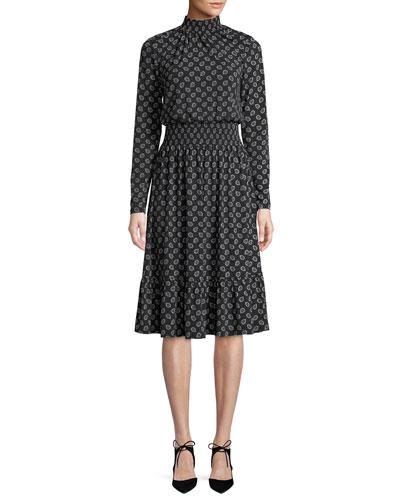 Smocked Neck & Waist Long-Sleeve Foulard-Print Dress