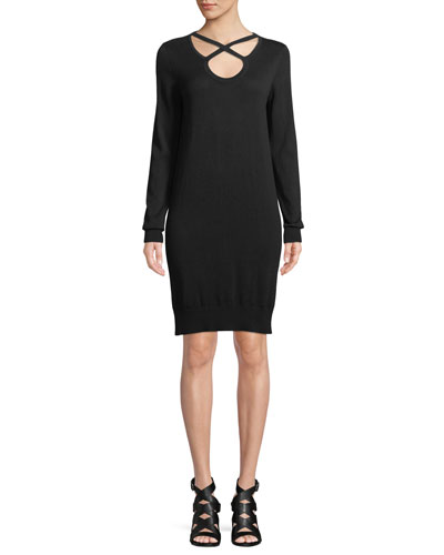 Cutout-Neck Long-Sleeve Cotton-Blend Shift Dress