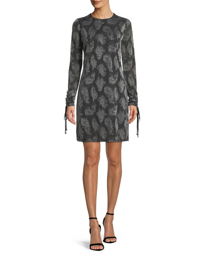 Drawstring-Sleeve Jewel-Neck Metallic Paisley Jacquard Dress