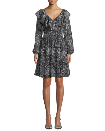V-Neck Ruffle Long-Sleeve Paisley-Print Dress