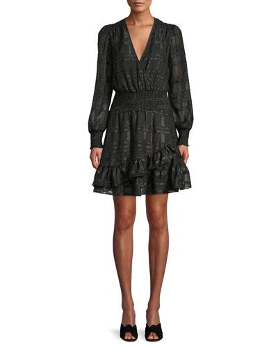 Shiny Plaid Long-Sleeve Ruffled Dress
