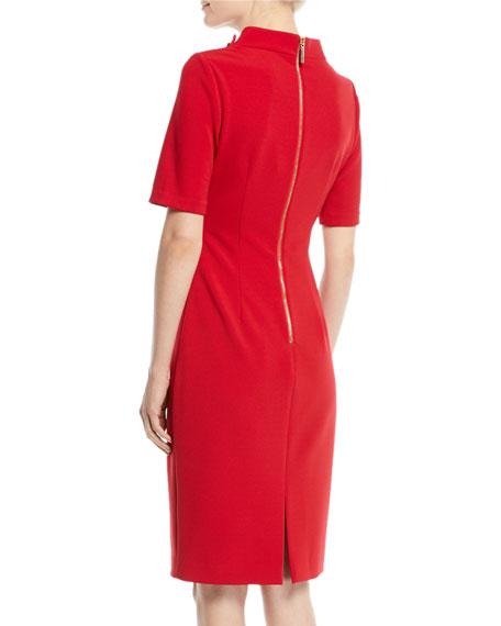 Turn-Lock Faille Short-Sleeve Sheath Dress