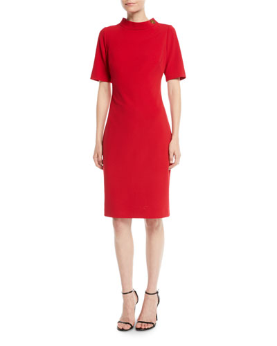 Turn-Lock Faille Short-Sleeve Sheath Dress
