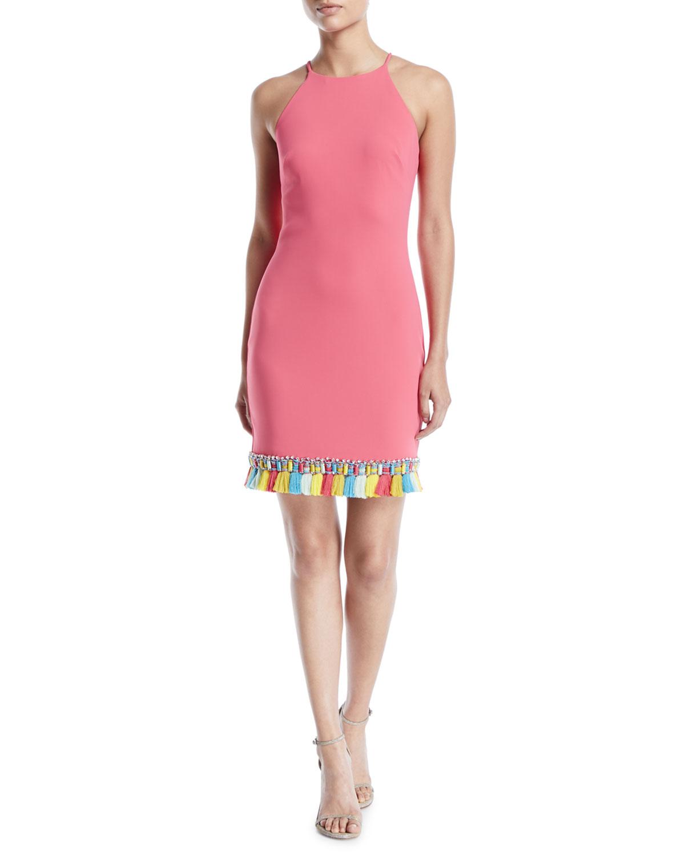 Badgley Mischka Collection Sleeveless Halter Dress w/ Tassel Trim ...