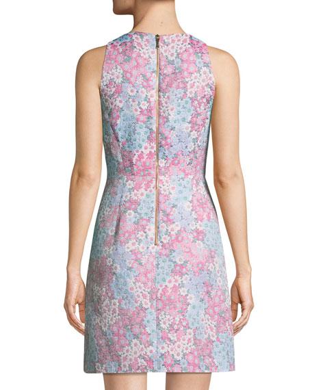 sleeveless floral jacquard mini dress