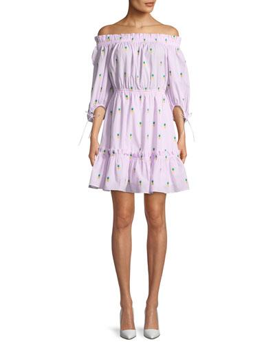 off-the-shoulder pineapple mini dress