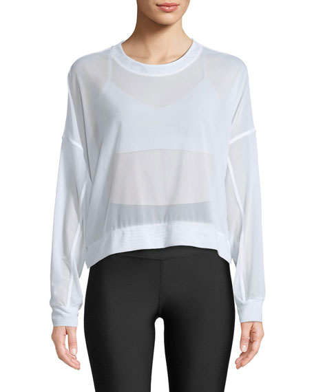 Alo Yoga Ambience Long-Sleeve Mesh Pullover Top