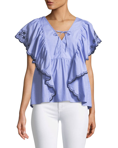 daisy embroidered flounce top