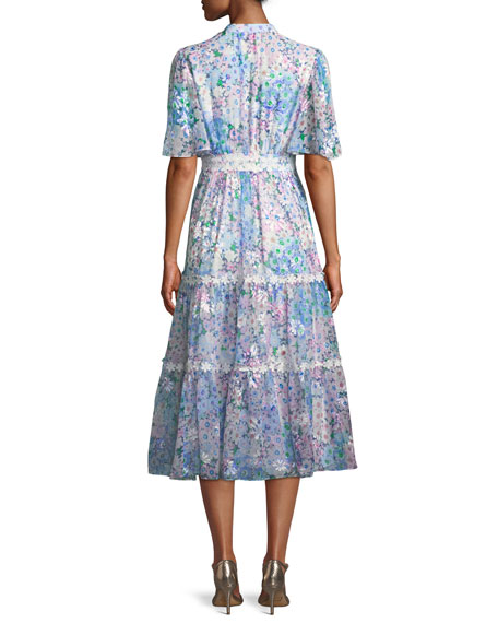 daisy garden a-line midi dress