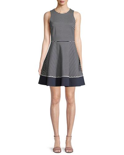 sleeveless stripe ponte mini dress